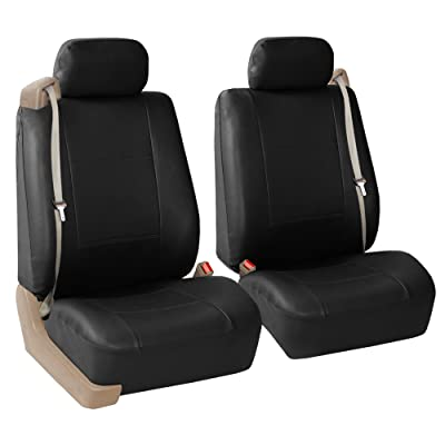 FH Group PU309BLACK102 Black Front PU Leather Seat Cover, Set of 2 (Set Built in Seat Belt Compatible Airbag Ready): Automotive