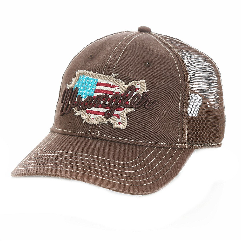 Wrangler Men s American Flag Baseball Cap - Brown at Amazon Men s Clothing  store  572c9b43b25