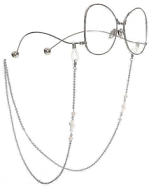 5424c86a8f51cc MINI TREE Brillenketten für Lesebrillen Perlen Brillenband Damen Lesebrille  Brille Kette Sonnebrillen Band Kreuz Cords Hals