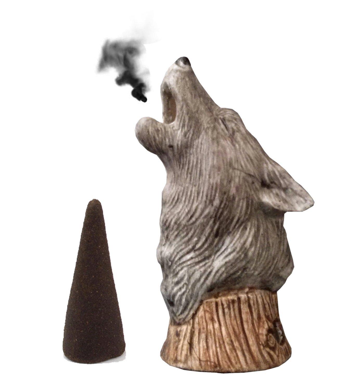 Mom's Majestics Majestic Wolf Bust Cone Incense Burner, Gifts & Decor (grey)