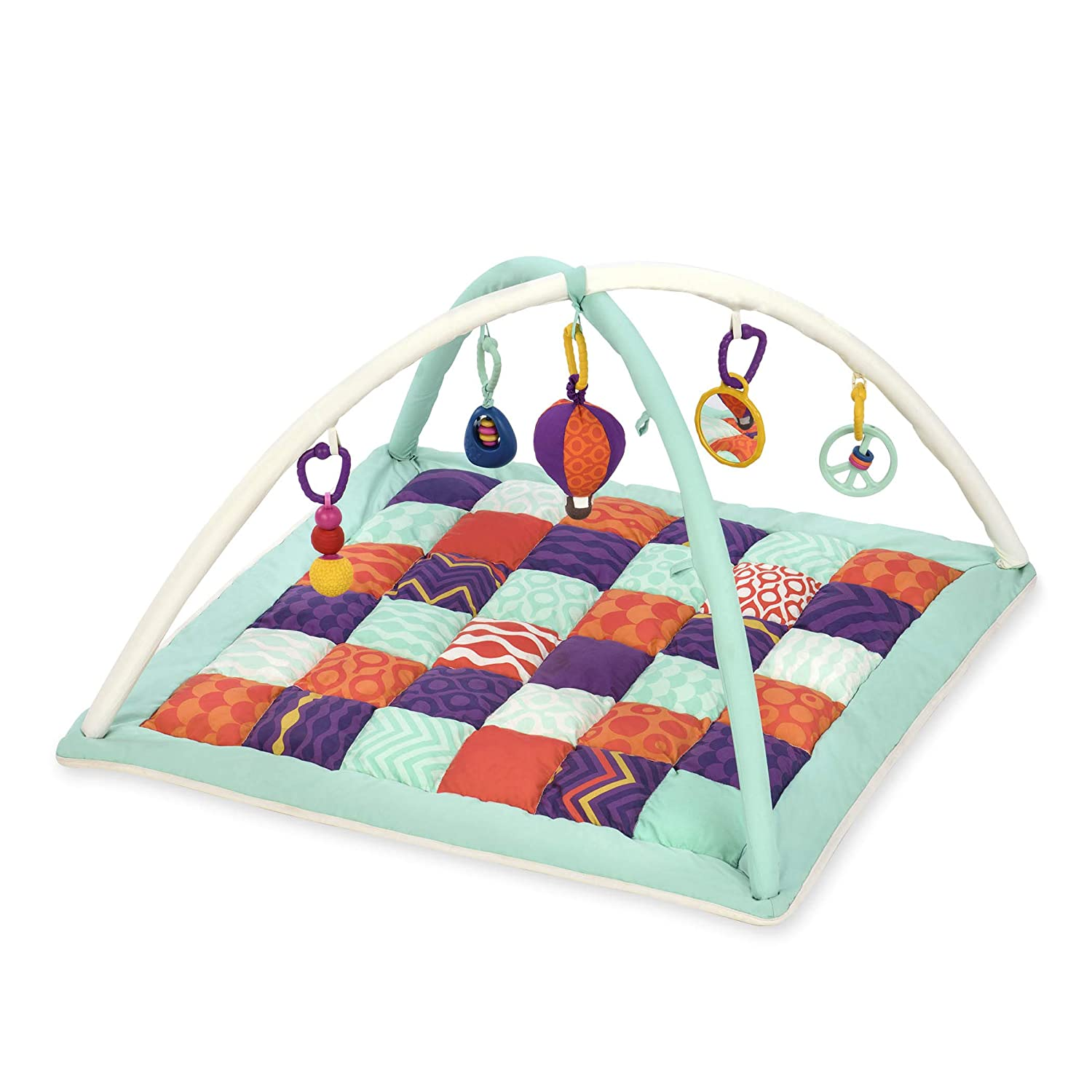 B toys by Battat – Wonders Above Activity Quilt – Baby Play Mat Gym with 5 Hanging Toys for Newborns