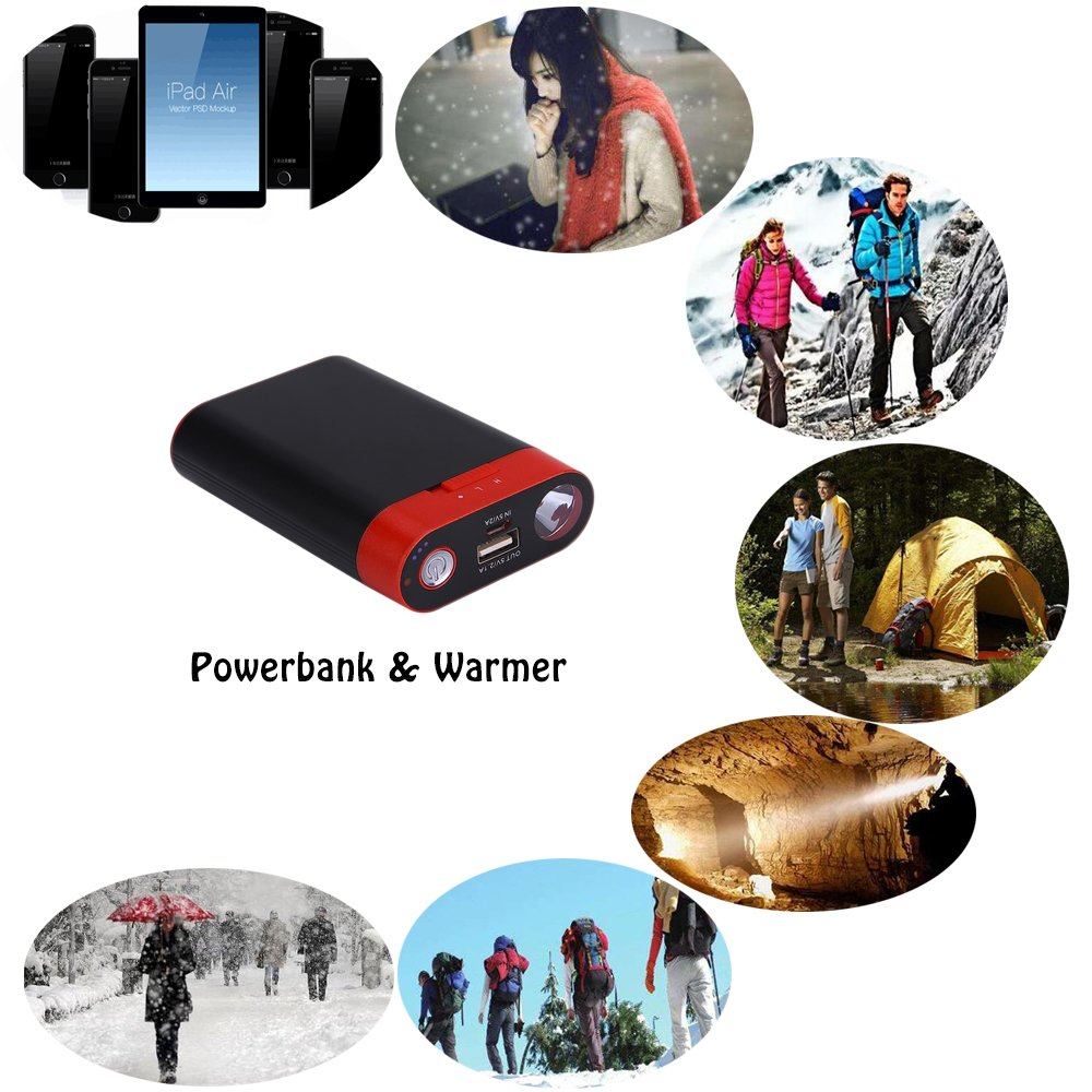 Ewarmer Power Bank 7800mAh/ Hand Warmers, Rechargeable Hand Warmer, 7800mah Portable USB Hand Warmer /Power Bank 7800, Portable Battery Charger with LED Flashlight for iPhone 7/7 Plus (Black)