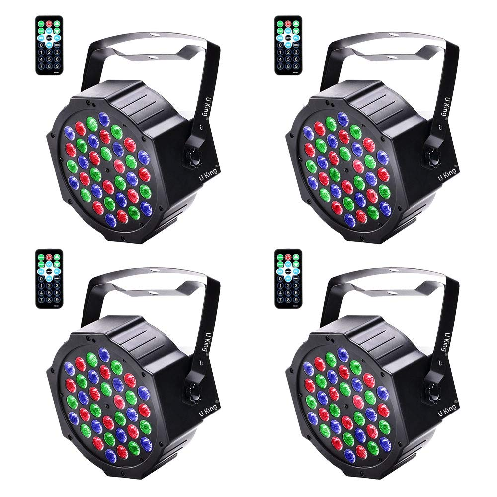 U`King Stage Lights 36 LED Par Lights Indoor for Party Wedding With Remote and DMX Control Sound Activated RGB Party Lights (4 Pack) by U`King