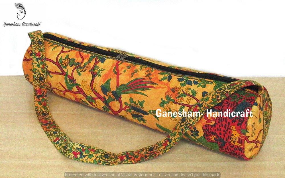 GANESHAM - Indian Handmade Ethnic Gym Exercise Sports Cotton Unisex Cross Body Boho Hobo Full Zip Yoga Mat Carrier Bag With Adjustable Shoulder Strap by GANESHAM (Image #1)