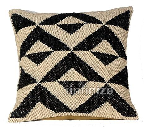 Funda de almohada de yute étnico indio, estilo retro, tejido ...