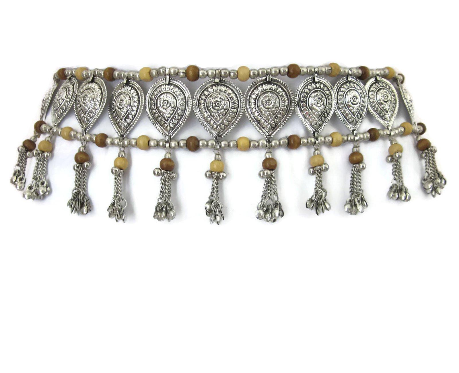 Womens Fashion Sash Belt | Bohemian Gypsy Hippie Music Festival Kuchi Tribal Belly Dance Style | Handcrafted Teardrop Medallions Wood Beads Metal Chain Tassels Boho Wedding Hip Waist Novelty Accessory