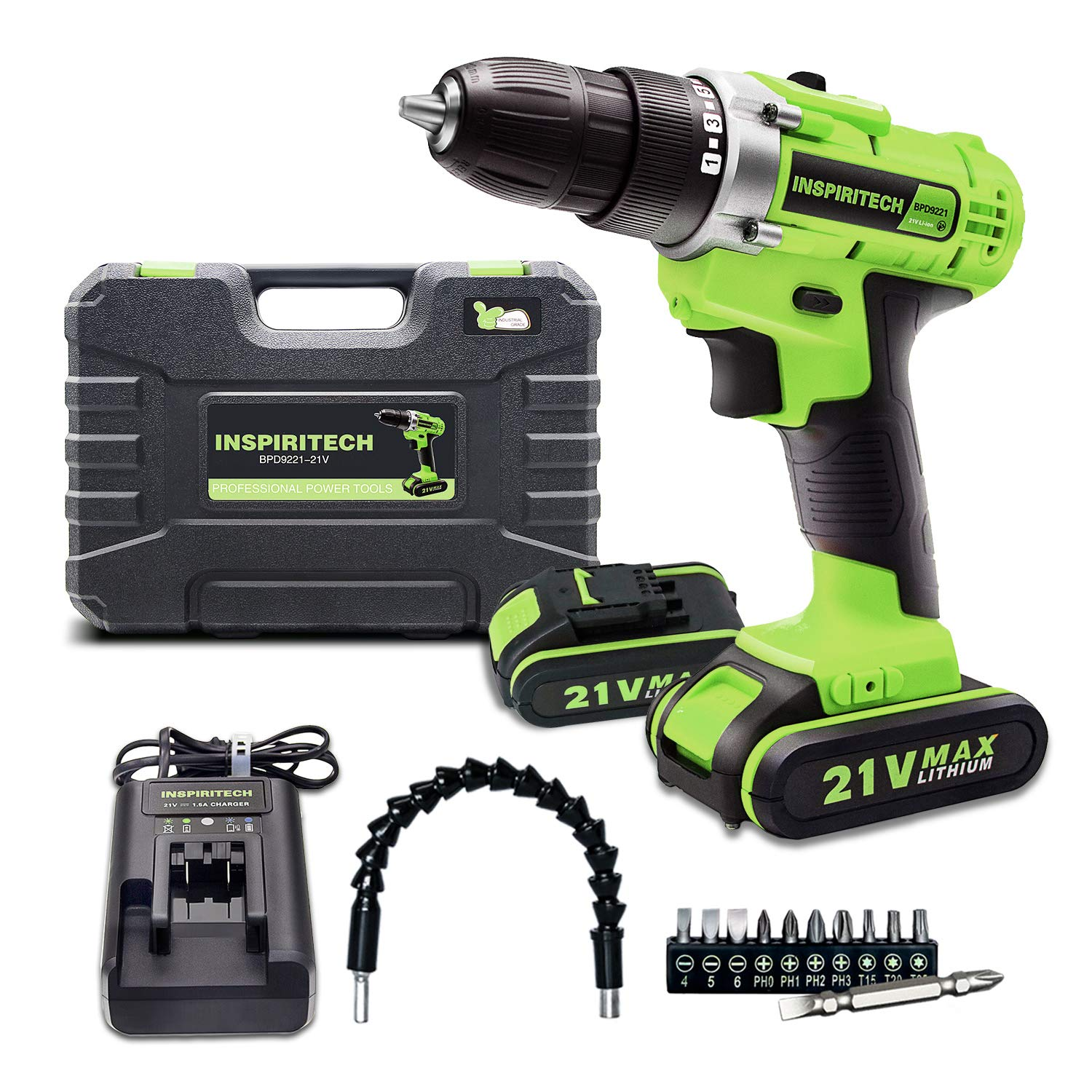 Inspiritech 21V Max Cordless Drill Driver with 2 Lithium Ion Batteries and Charger,Variable Speed 3 8Inch Keyless Chuck 16 Position Clutch, Front LED Light,12 Accessories