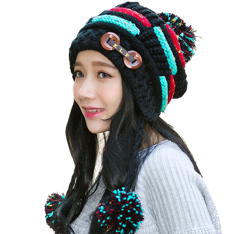 Mangotree Damen Geflochten Mütze Strickmütze Ski Baggy Warme Snowboard Hut Wind Mütze