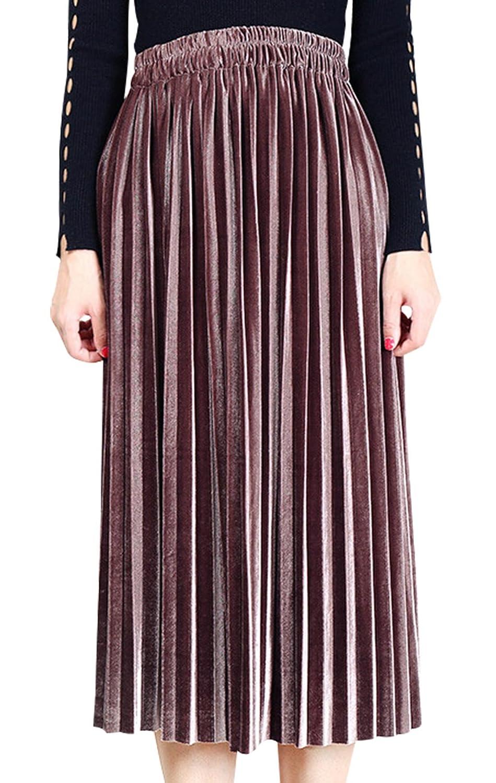 High Waist A-Line Maxi Dress for Female Casual Soft Solid Velet Pleated Skirt Aivtalk