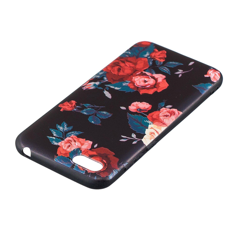 Felfy Cover Compatibile con Huawei Y5 2018 Custodia Silicone Nero Opaco Cover con Disegni,Ultra Slim Sottile Morbido Flessibile Gomma TPU Bumper Antiurto AntiGraffio Protettiva Cover-Gufo#01