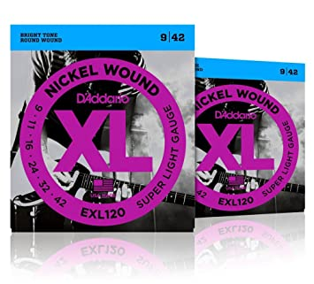 D Addario EXL120 Nickel Super Light – Cuerdas para guitarra eléctrica (2 unidades)