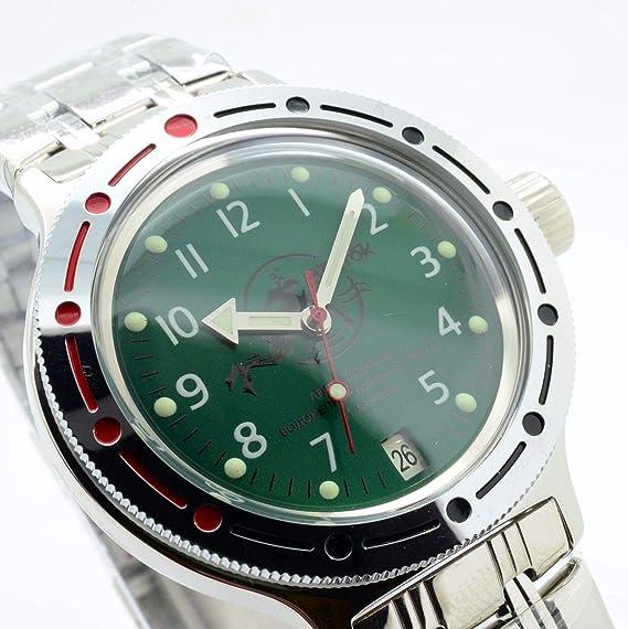 Vostok Militar ruso Diver reloj de buceo Dude de anfibios verde 2416/420386