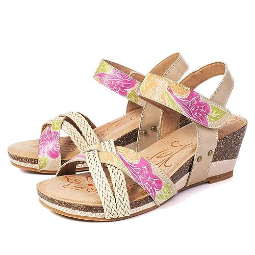 efbeff9fc46 Camfosy Womens Wedge Heel Sandals Ladies Summer Leather Ankle Strap Pumps  Shoes Vintage Handmade Platform Sandals