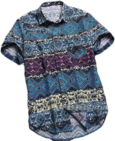 SHOWNO Men Split Muslim Middle Eastern Kaftan Short Sleeve Abayas Classic Long Shirts