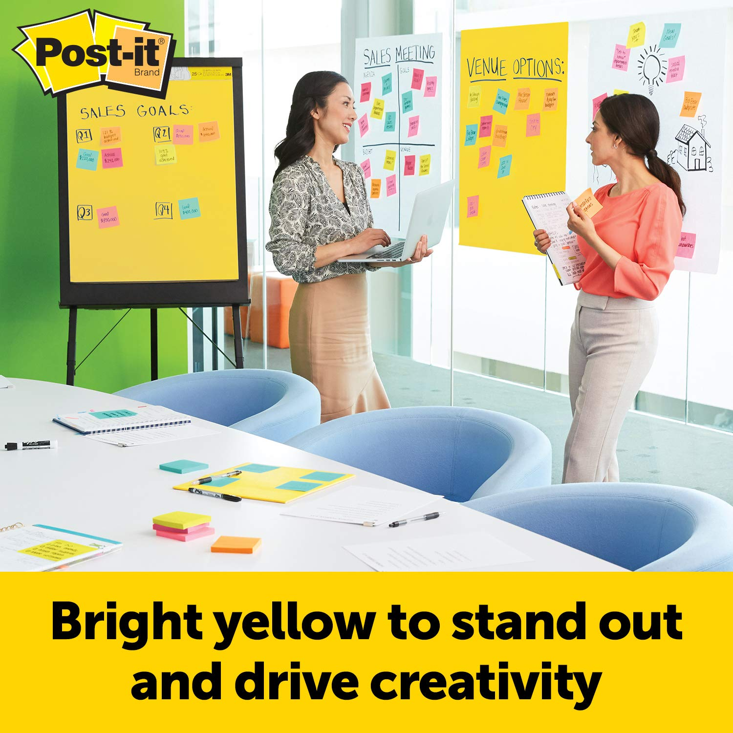 Post-it Super Sticky Easel Pad, 25 x 30 Inches, 25 Sheets/Pad, 3 Pads (559YW-3PK), Large Bright Yellow Premium Self Stick Flip Chart Paper, Super Sticking Power by Post-it (Image #2)