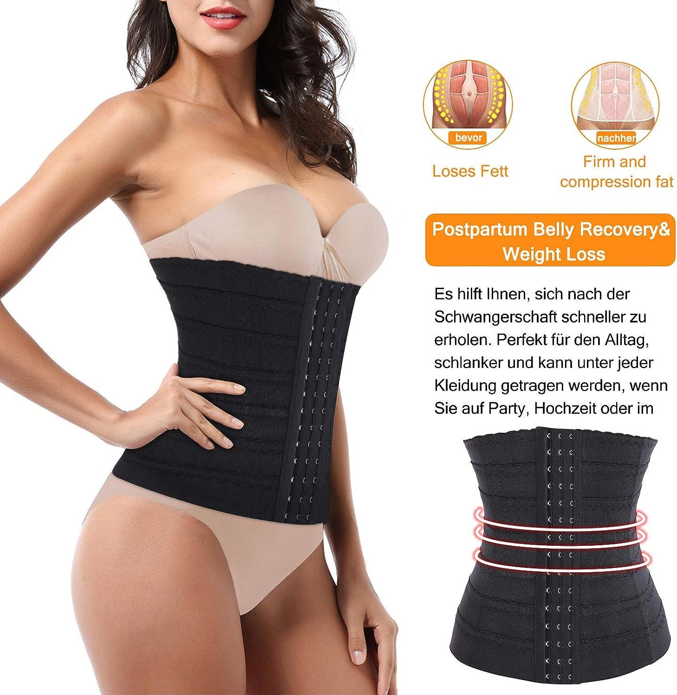 Bingrong Damen Taillenformer stark formend Bauchweg Shaper atmungsaktiv Mieder Unterbrust Korsett Shapewear verstellbar Taillenmieder