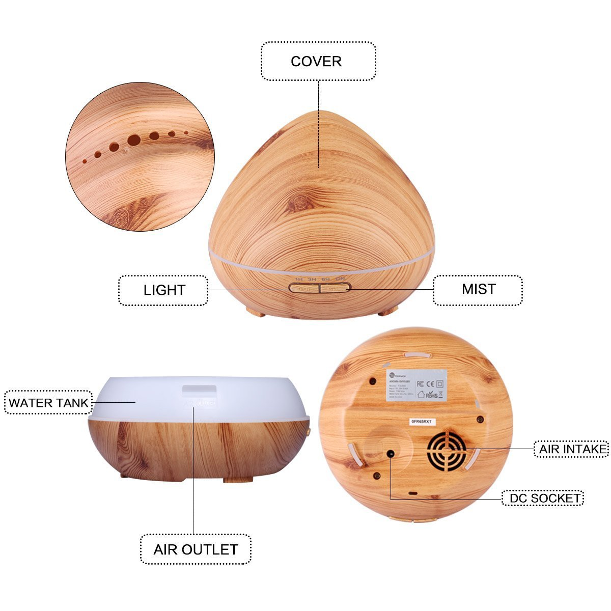 Qkfly Aromatherapy Essential Oil Diffuser Aroma Diffuser Ultrasonic Cool Mist Humidifier with 7 Color LED Lights Changing Waterless Auto Shut Off for Home Office Bedroom Room 400ml Wood Grain by Qkfly (Image #6)