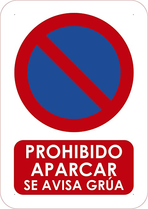 Señal de Prohibido Aparcar 14.8x21cm | Señaletica en Material PVC Resistente de 3mm