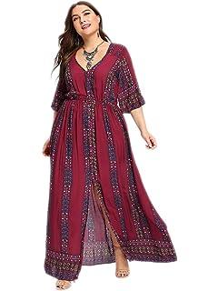 c206e1169a Romwe Women s Plus Size Floral Print Buttons Short Sleeve Split Flowy Maxi  Dress