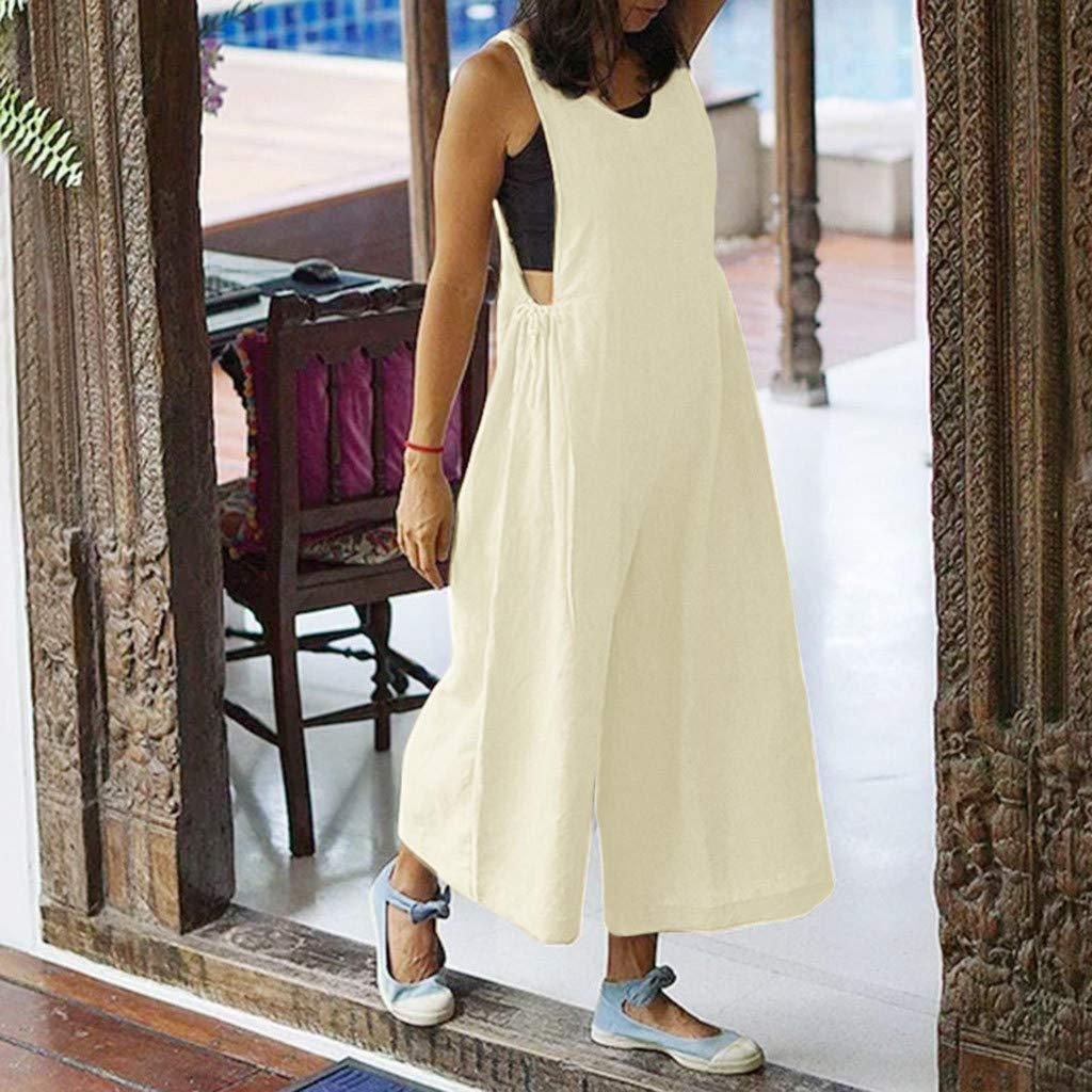 Womens Loose Linen Jumpsuit V-Neck Loose Trousers ZhixiaYS Women Wide Leg Jumpsuits