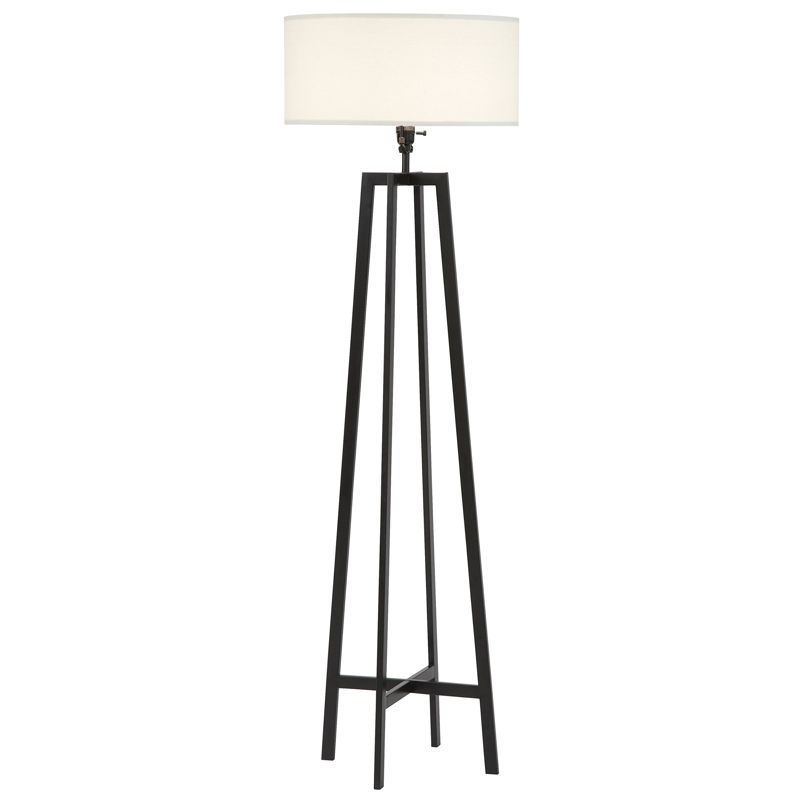Stone & Beam Deco Black Metal Floor Lamp, 59.5''H, With Bulb, White Shade by Stone & Beam