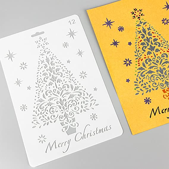 Petift 12 Pcs Christmas Stencils,Bullet Stencil Template Set Merry Christmas,Santa Claus,Christmas Tree,Snowflakes,Bulbs,Reindeers for Card DIY Drawing Painting Craft Projects