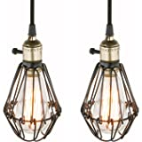 Pathson Set of 2 Industrial Retro Edison hanging Lights Pendant Lights Loft Bar Kitchen Island Switch Ceiling Light Lamp Fixture Chandelier with Metal Bird Cage Lamp Shade (2 pendant light, Black)