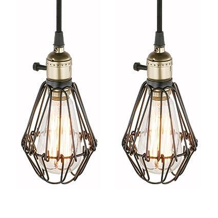 763d95fb1d9 Pathson Set of 2 Industrial Retro Edison hanging Lights Pendant Lights Loft  Bar Kitchen Island Switch