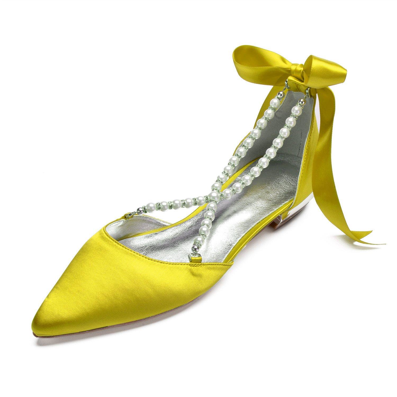 MarHermoso Womens Pointed Toe Cross Strap Pealrs Ribbon Tie Comfort Wedding Bridal Shoes B07FD3TTQ8 5 B(M) US|Yellow