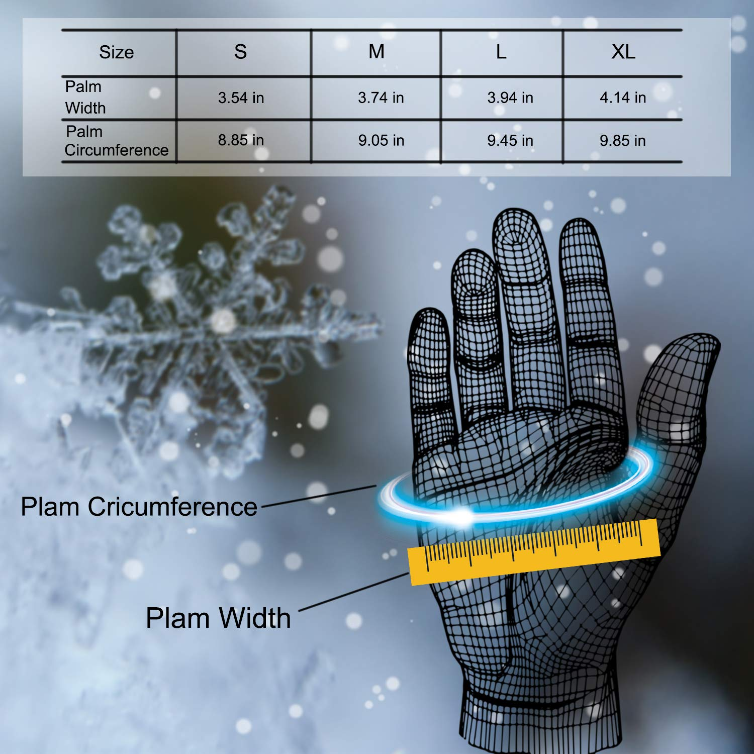 DONWELL Winter Gloves for Men Touch Screen Cold Weather Super Warm Thermal Outdoor Sport Windproof Waterproof