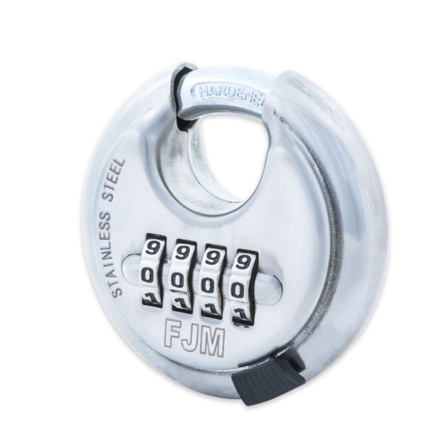 FJM Security SX-790 4-Dial Combination Disc Padlock With Shielded Hardened Steel Shackle and 10,000 Possible Combinations