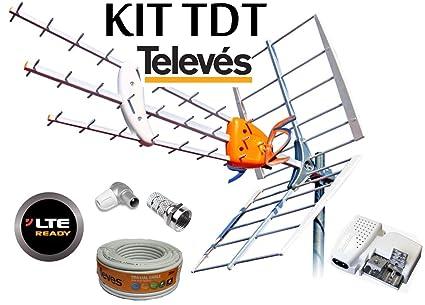 KIT ANTENA TELEVES HD 149902 +20MT CABLE+FUENTE TELEVES 5795 +CONECTORES DE ANTENA