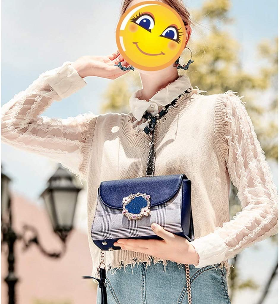 YANFEI Borsa da Donna Borsa a Tracolla Casual Borsa a Tracolla Femminile Borsa a Tracolla Borsa Quadrata in Tartan (Colore : Blue Shoulder Strap) Blu