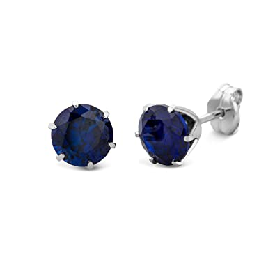 Miore Earrings Women White Gold studs Solitaire Blue Sapphire 9 Kt/375 YEQS1l5dw