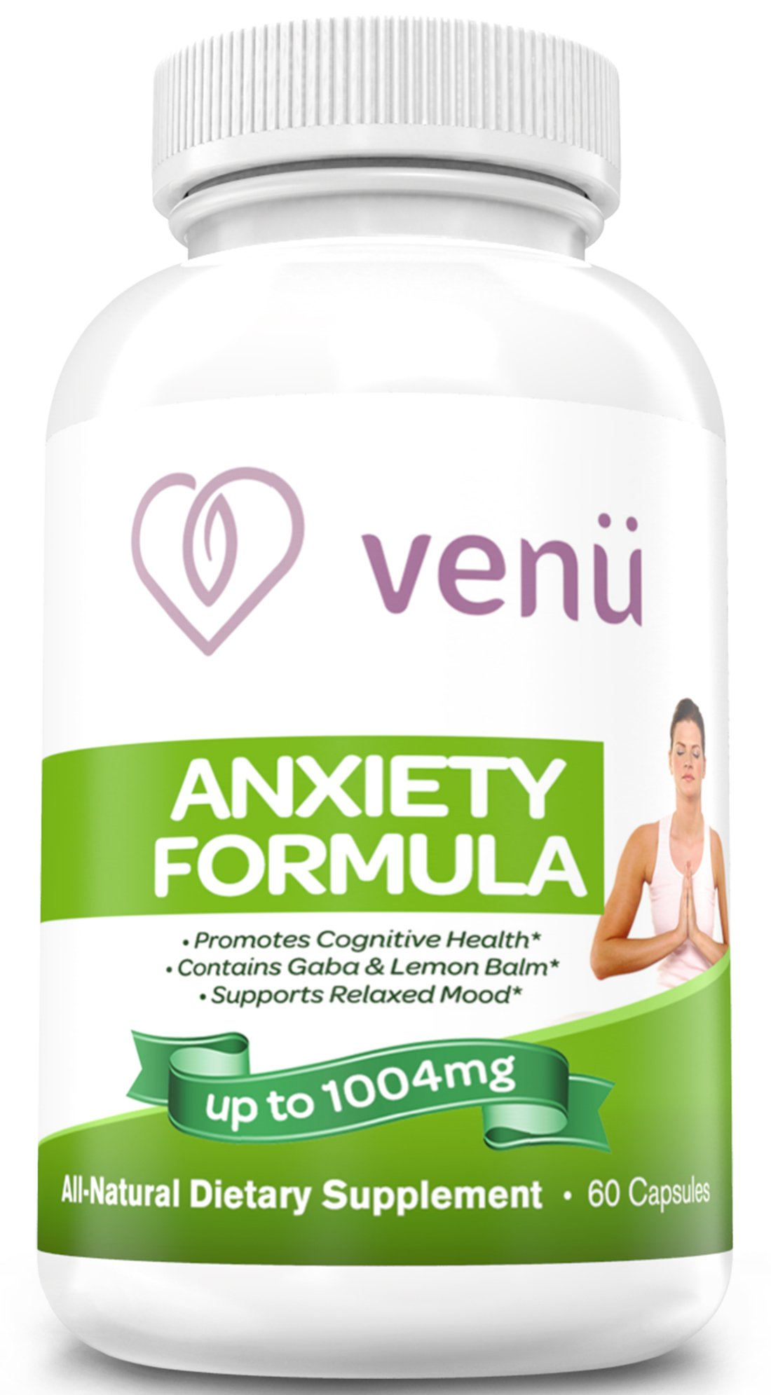 Venu Beauty Anti-Anxiety Supplement Helps Support Anxiety Stress Relief, All-Natural, 1-Month Supply 60, Made in USA