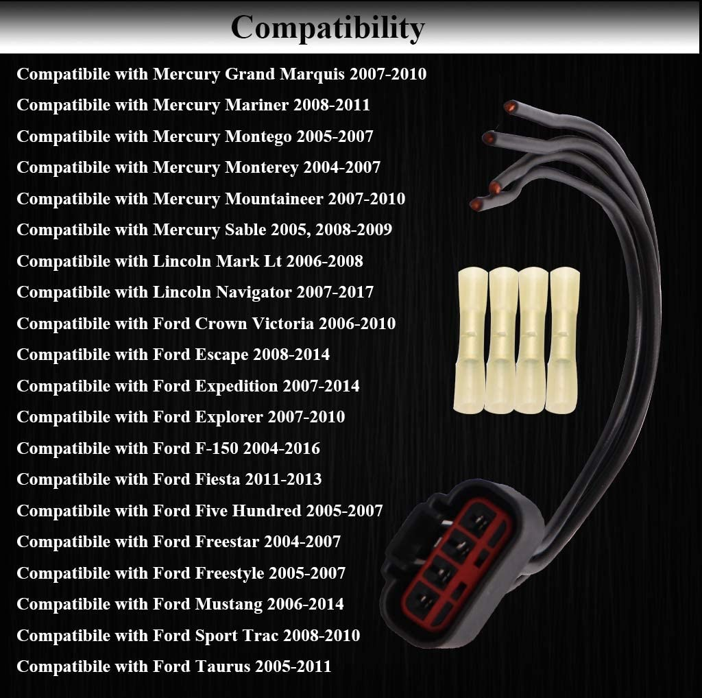 WPT688 HVAC Fan Blower Motor Resistor Connector Wire Harness Pigtail Assembly 3U2Z14S411ZEA Compatible with Ford Explorer Escape Expedition Mustang Fiesta Lincoln Mark Lt Navigator Mercury Mariner