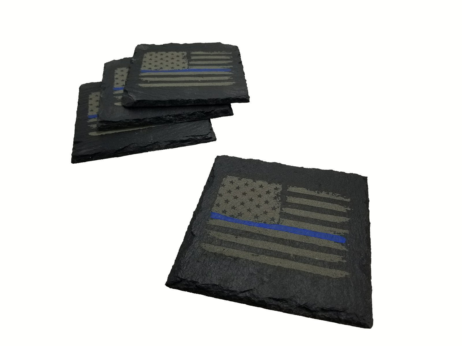 Police Thin Blue Line Distressed American Flag Slate Coaster Set by five1designs