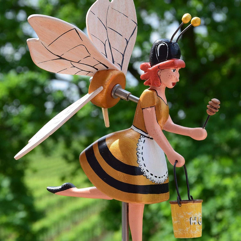 Whirligig Asuka Series Windmill, Flying Bird Garden Windmill Art, Kites Spinner, Bird Deterrent Lawn Decorations, Garden Spinner with Stable Wood Pile, Birthday Gift Mother's Day Garden Decoration (F)
