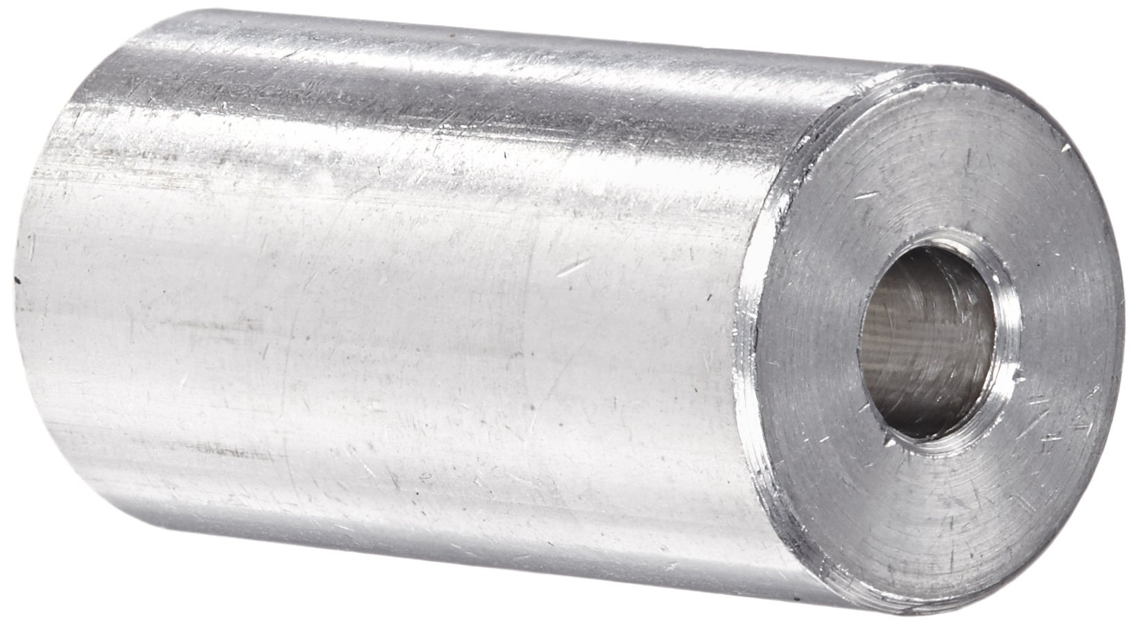 Round Spacer, Aluminum, Plain Finish, #8 Screw Size, 1/2'' OD, 0.166'' ID, 1'' Length, Made in US (Pack of 5)