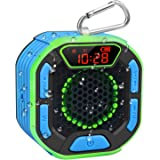 DuoTen Altavoz de ducha, IPX7 altavoces Bluetooth portátiles impermeables con sonido estéreo fuerte, pantalla LED…