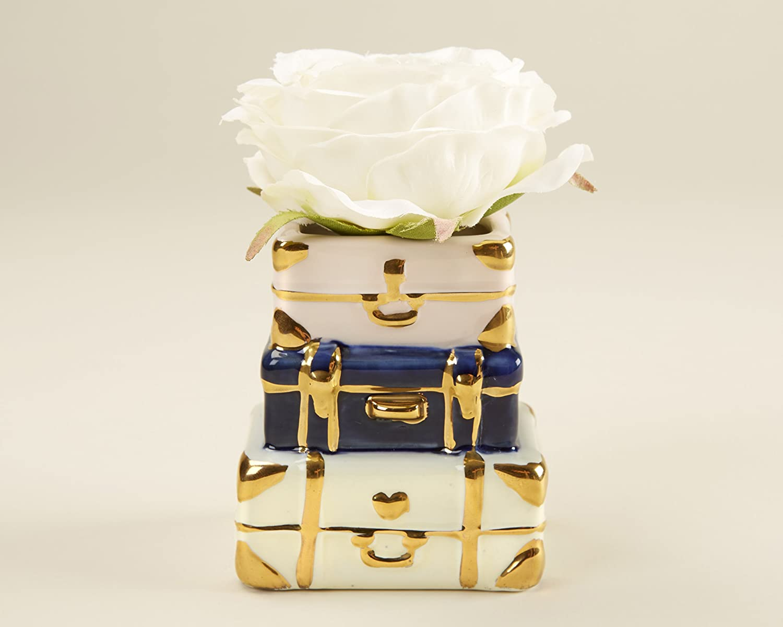 Kate Aspen Suitcase Ceramic Bud Vase, One Size, White/Gold/Blue and Pink