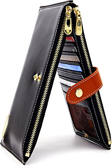 Travel wallet Women/'s wallet Credit card holder Black and Orange Leather Purse for Women, Clutch purse Wallet Leather purse