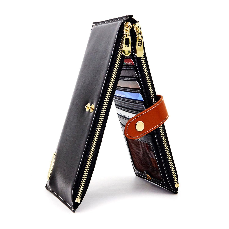 ANDOILT Womens Genuine Leather Wallet RFID Blocking Credit Card Holder Zipper Purse Cell Phone Handbag Black