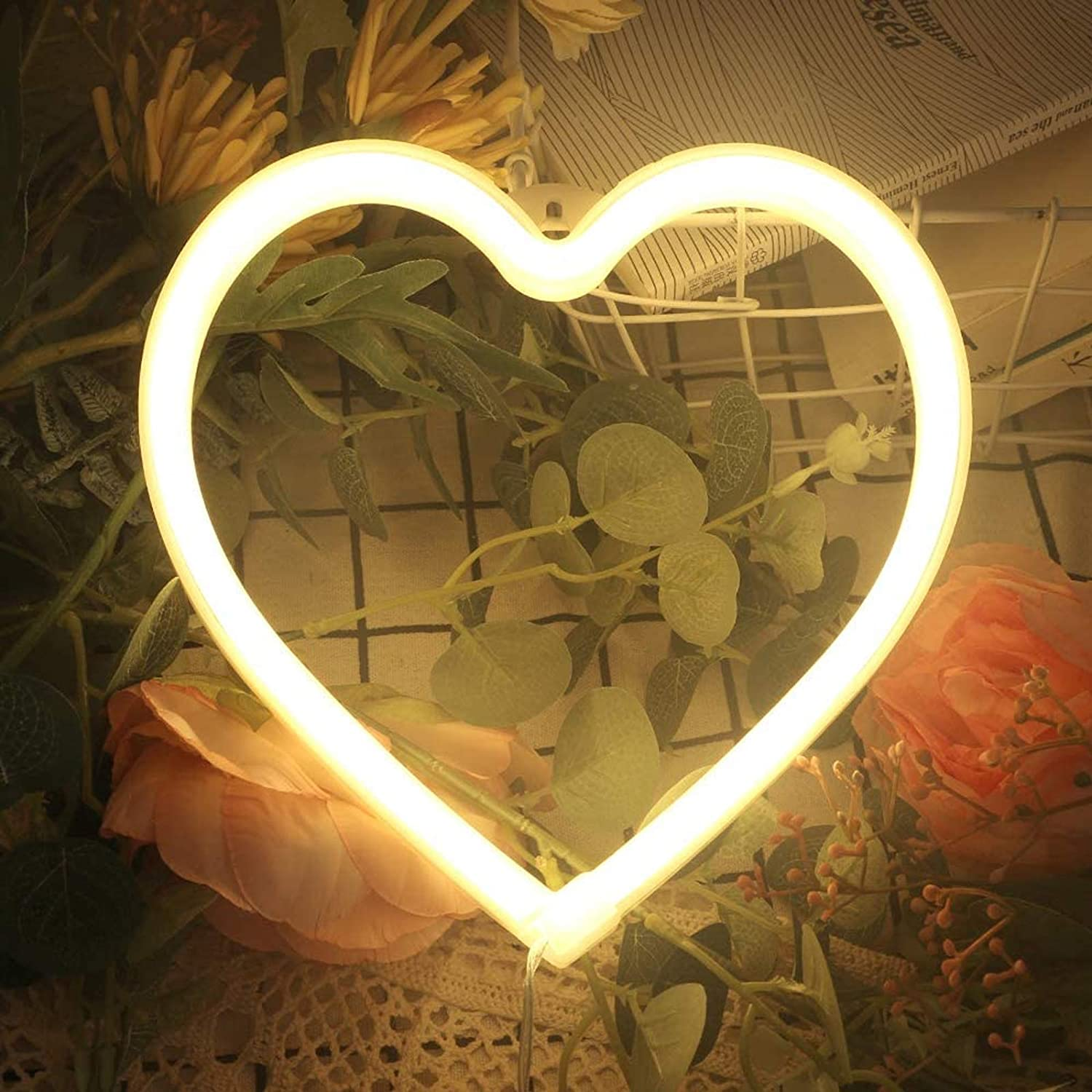Heart Neon Signs For Wall Decor Usb Or Battery Decor Light Neon Light For Bedroom Led Neon Decorative Lights For Christmas Party Girls Living Room Warm White Amazon Com