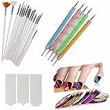 Store2508 Nail Art Pen Set Of 5,15Pc Nail Brush Set,10 Pcs