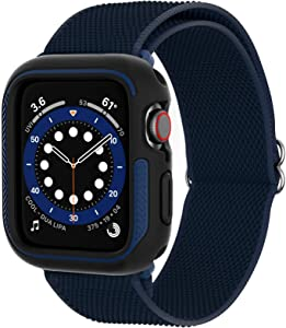 Loxoto Stretchy Solo Loop Bands with Case for Apple Watch 44mm, Bumper Apple Watch Case Cover with Adjustable Stretch Braided Sport Elastics Band Strap Fit for iWatch 6/SE/5/4 Men Women, Navy