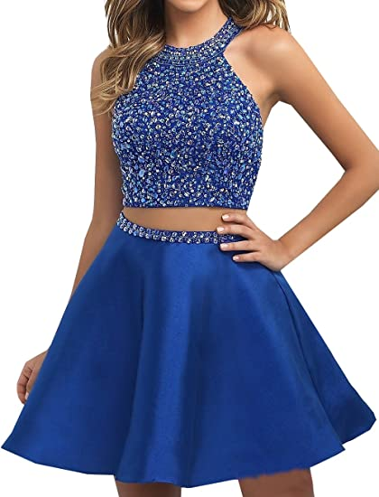 Special Bridal Two Piece Homecoming Dresses Halter Short Prom Dress Beaded Coaktial Dress Blue US2