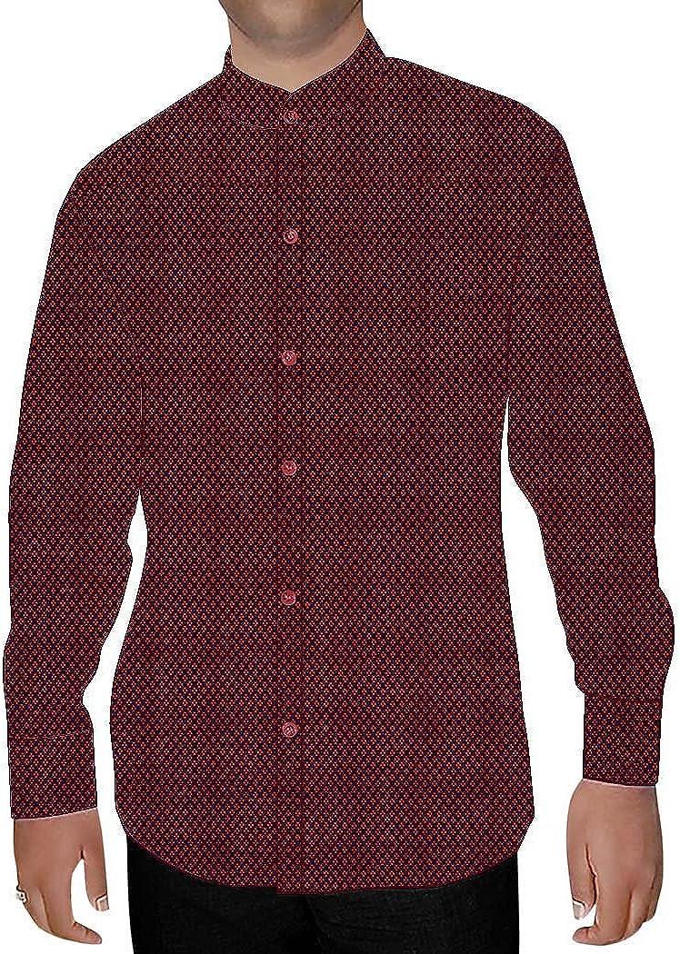 INMONARCH Mens Crimson Red Nehru Collar Shirt Formal NSH15536