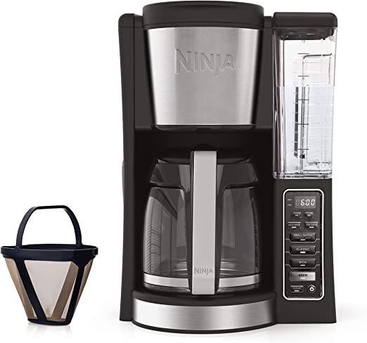 Ninja 12-Cup Programmable Coffee Maker with Classic and Rich Brews, 60 oz. Water Reservoir, and Thermal Flavor Extraction (CE201), Black/Stainless ...