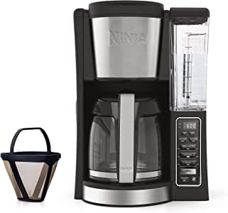 Ninja 12-Cup Programmable Coffee Maker with Classic and Rich Brews, 60 oz. Water Reservoir, and Thermal Flavor Extraction (CE201), Black/Stainless Steel (Renewed)